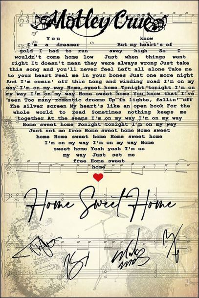 Home sweet home lyric signature poster