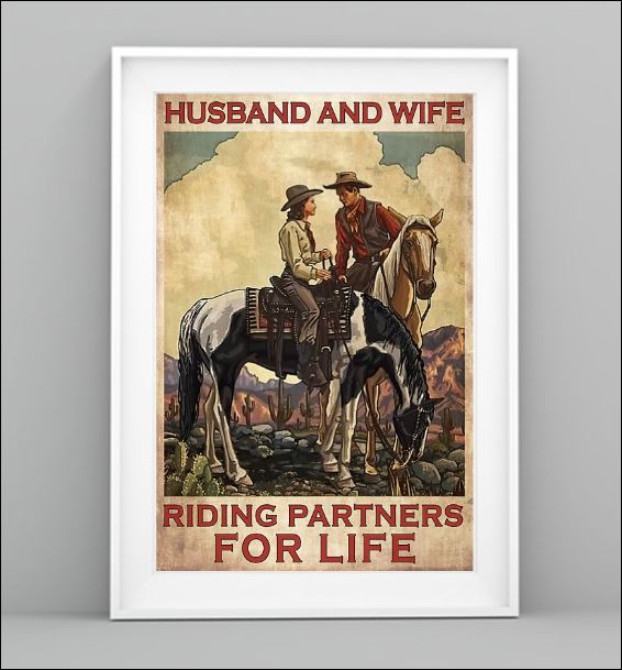 Horse husband and wife riding partners for life poster 1