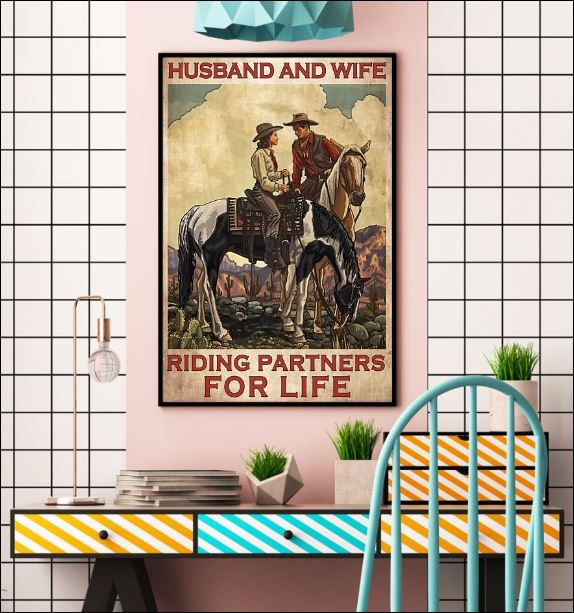 Horse husband and wife riding partners for life poster 2