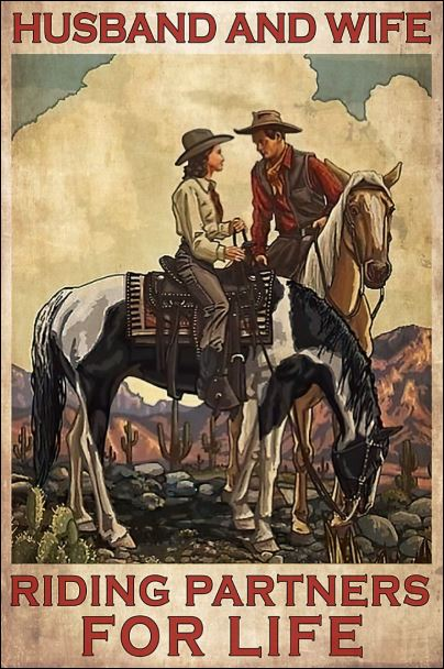 Horse husband and wife riding partners for life poster