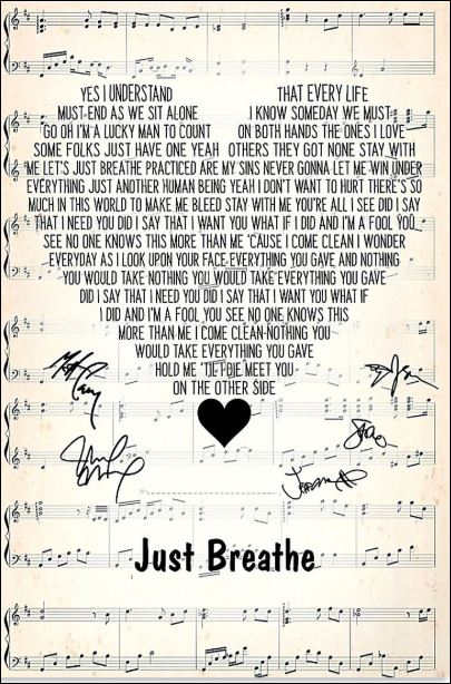Just breathe lyric signatures poster