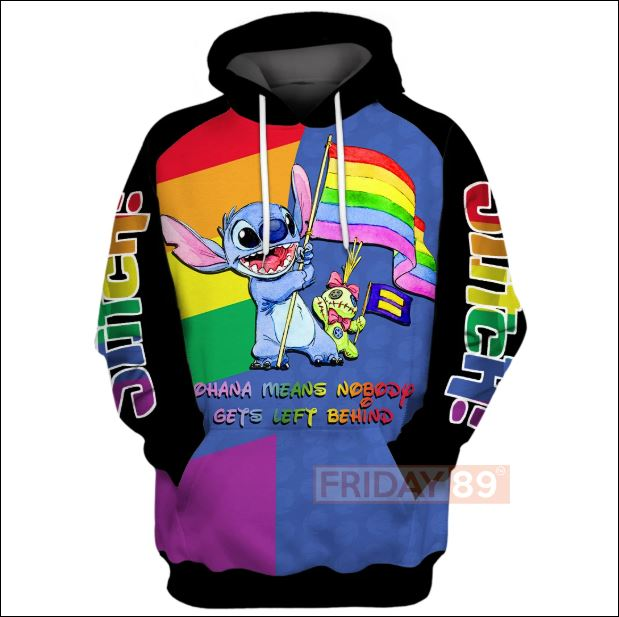 LGBT Stitch ohana means nobody gets left behind 3D hoodie