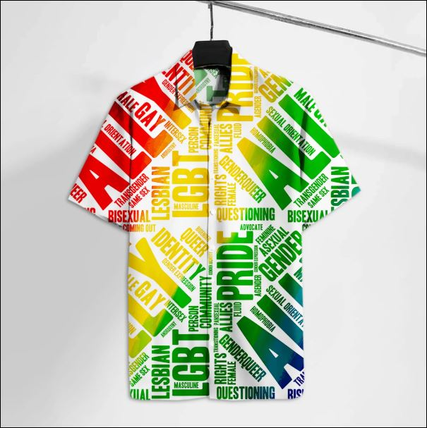 LGBT straight ally pride rainbow hawaiian shirt