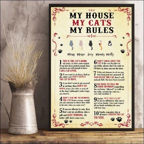 My house my cats my rules poster 1