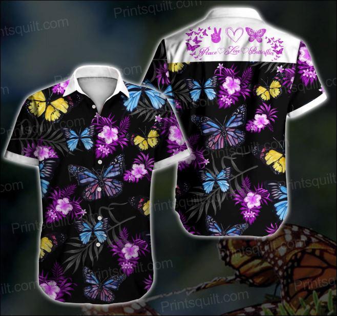 Peace love Butterflies hawaiian shirt