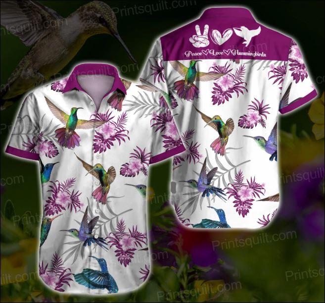 Peace love Hamming bird hawaiian shirt