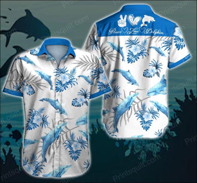 Peace love dolphin hawaiian shirt