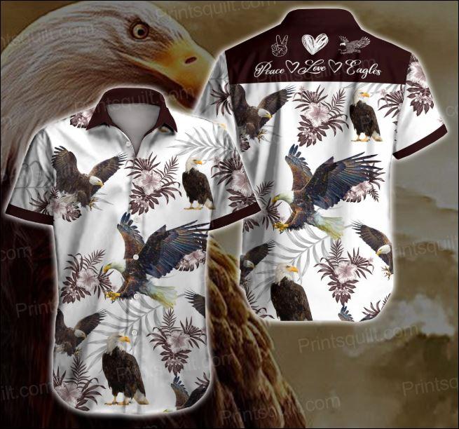 Peace love eagles hawaiian shirt