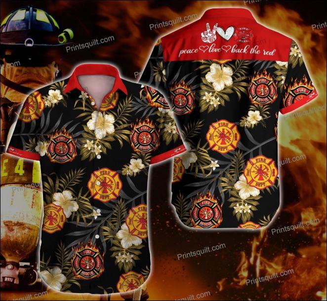 Peace love firefighter hawaiian shirt