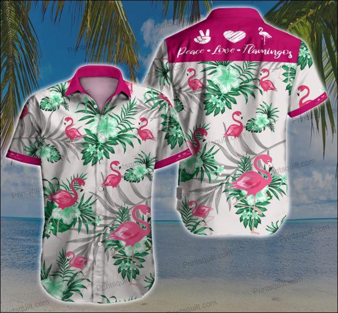 Peace love flamingos hawaiian shirt