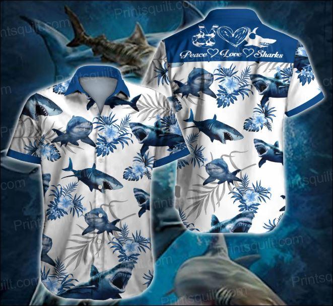 Peace love sharks hawaiian shirt