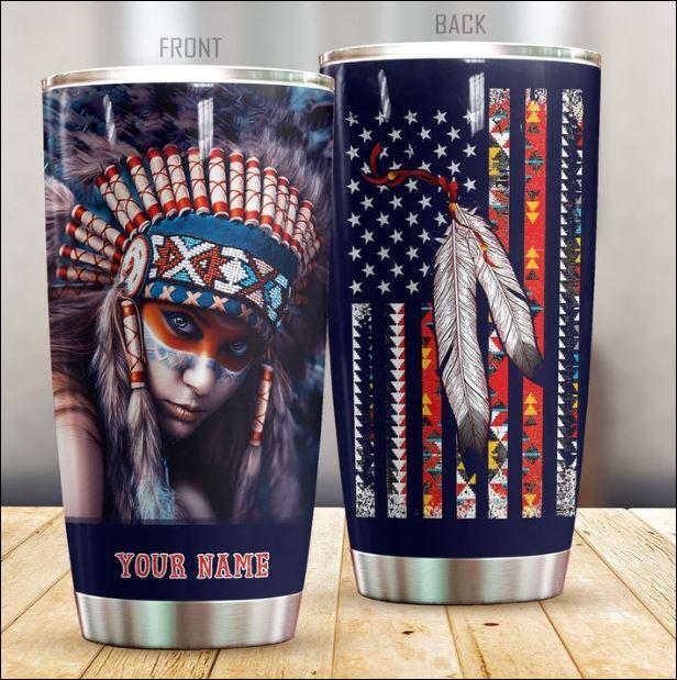 Personalized Native American girl tumbler