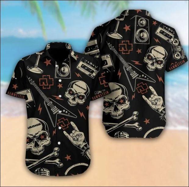 Rammstein black skull hawaiian shirt