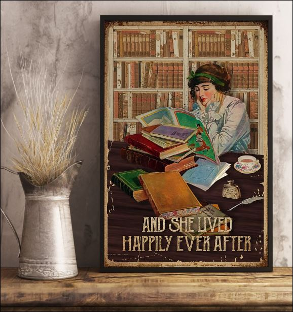 Reading book and she lived happily ever after poster 1