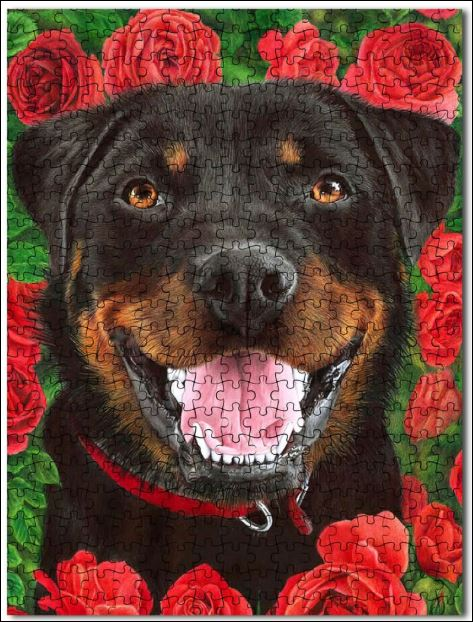 Rottweiler and roses jigsaw puzzles