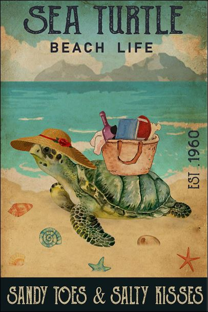 Sea turtle beach life sandy toes and salty kisses poster