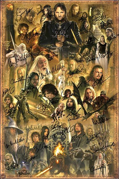 The Lord of the Ring character signatures poster