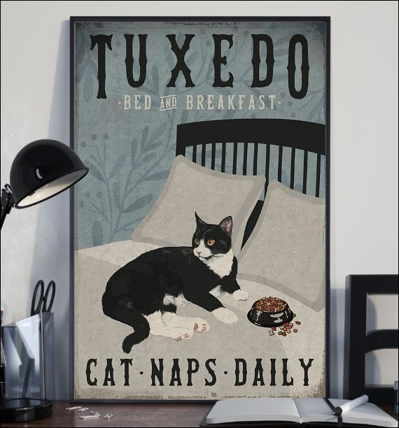 Tuxedo bed and breakfast cat naps daily poster 2