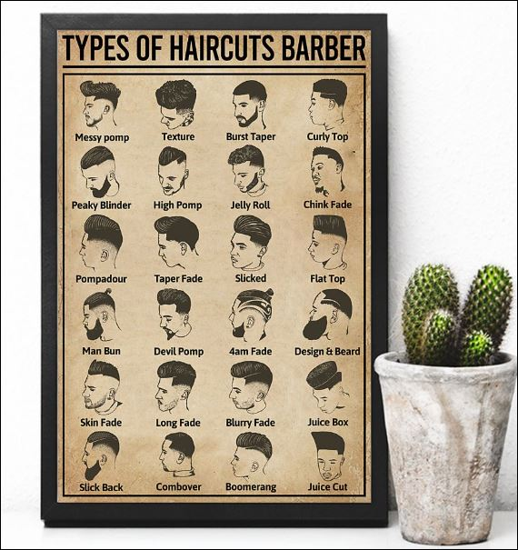 Types of haircuts barber poster 2