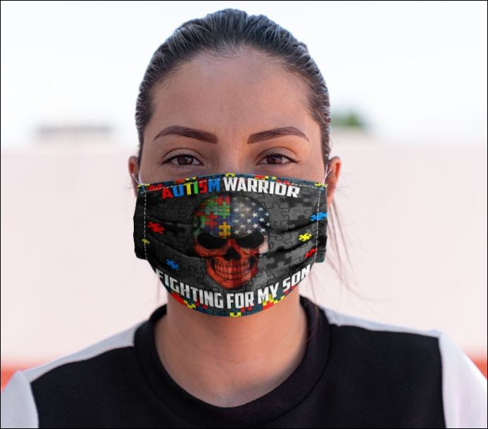 Autism warrior fighting for son face mask