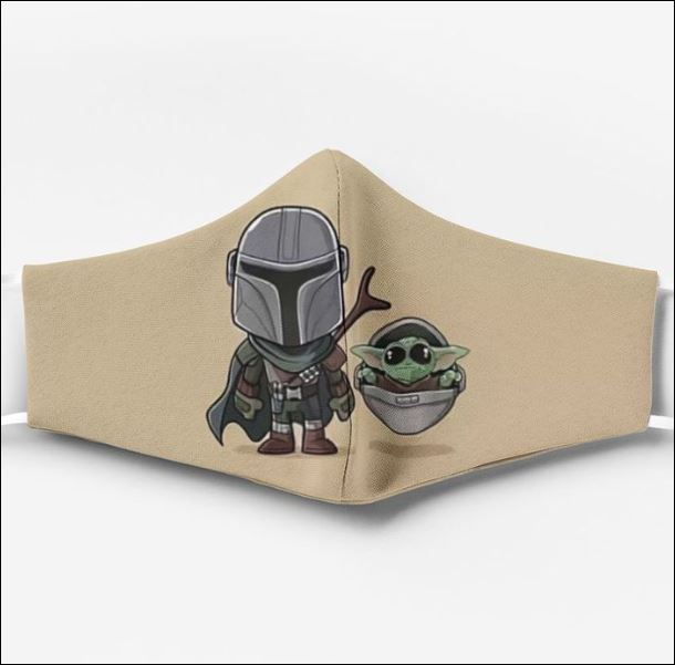 Baby Yoda and Boba Fett face mask