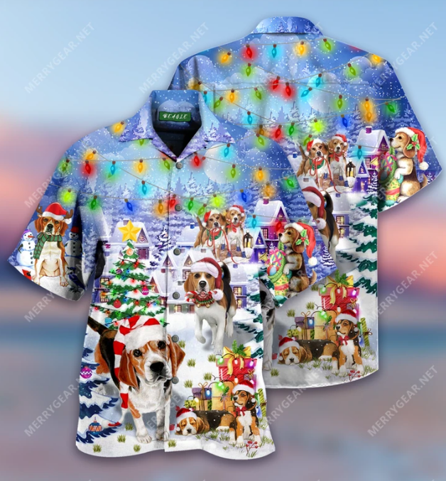 Beagle Merry Christmas hawaiian shirt