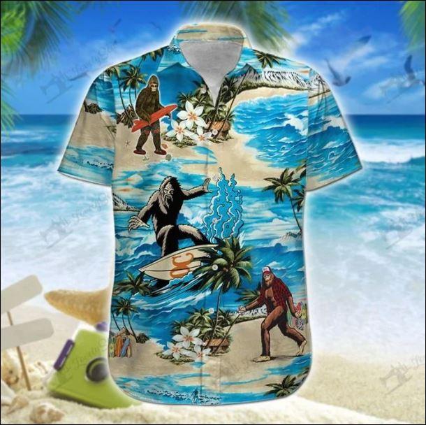 Big foot surfing hawaiian shirt