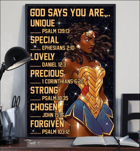 Black Wonder Woman God says you are unique poster 1
