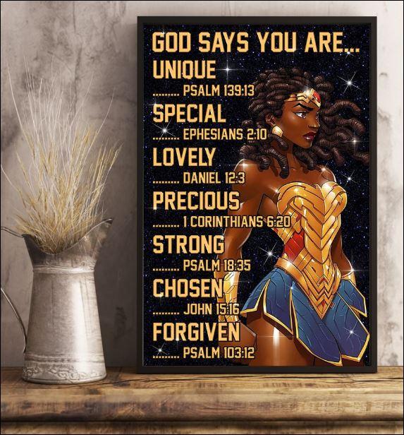 Black Wonder Woman God says you are unique poster 2