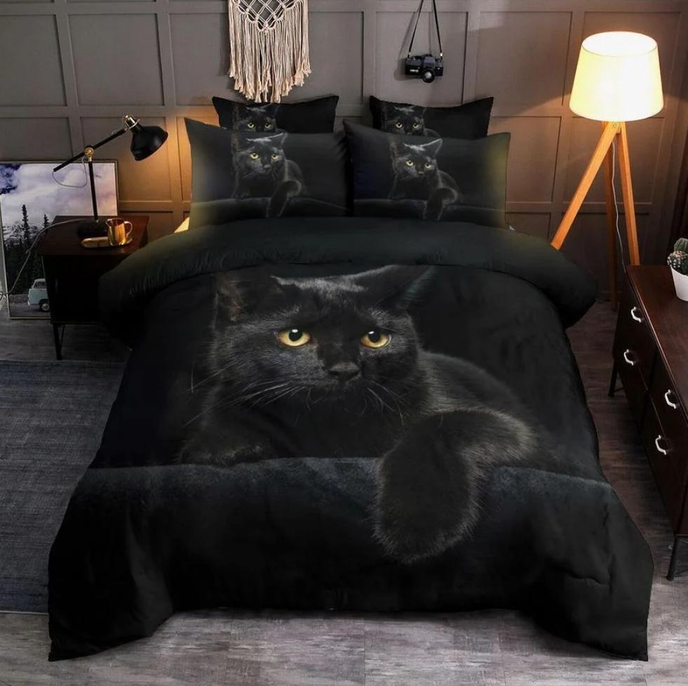 Black cat bedding set