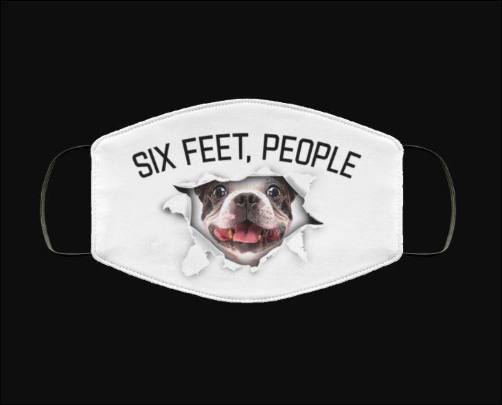 Boston Terrier six feet people face mask