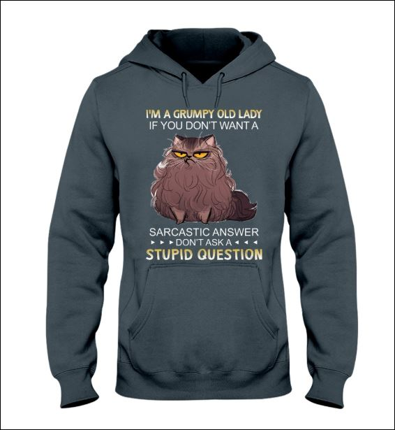 Cat i'm a grumpy old lady if you don't want a sarcastic answer don't ask a stupid question hoodie