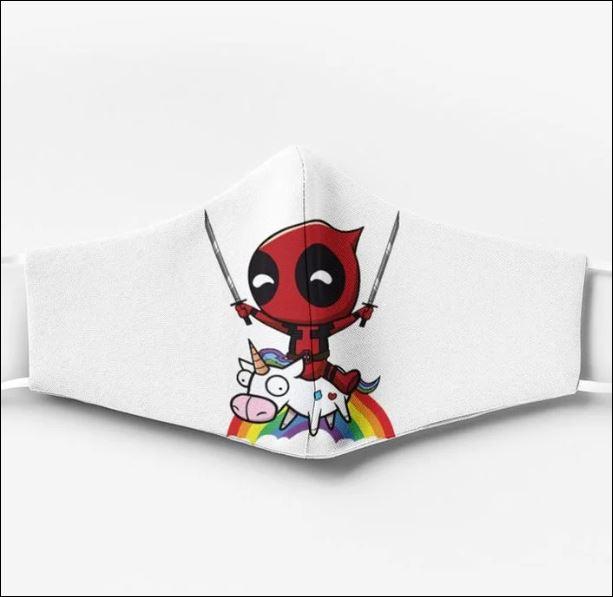 Deadpool and unicorn rainbow face mask
