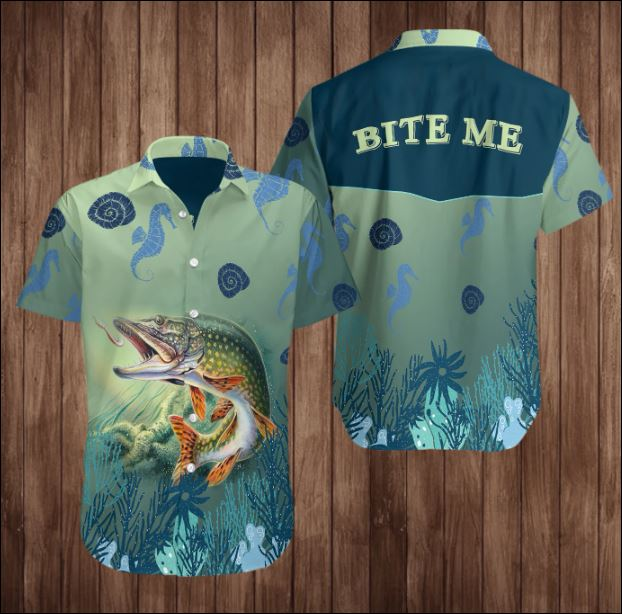 Fishing bite me hawaiian shirt