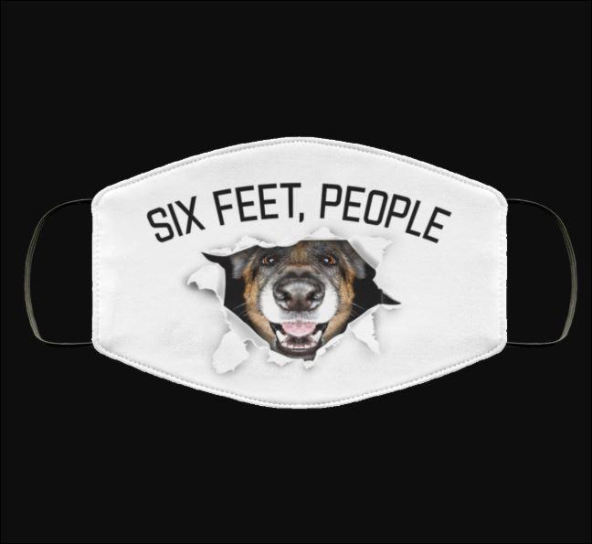 German Shepherd six feet people face mask