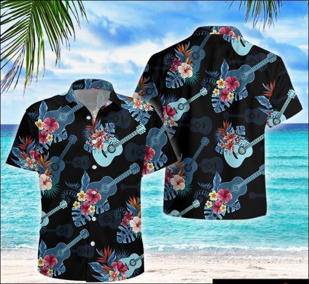 Guitar tropical hawaiian shirt