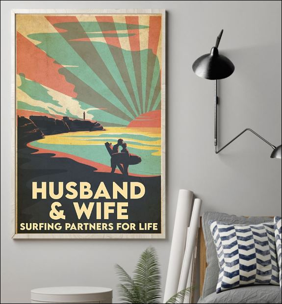 Husband and wife surfing partners for life poster 1