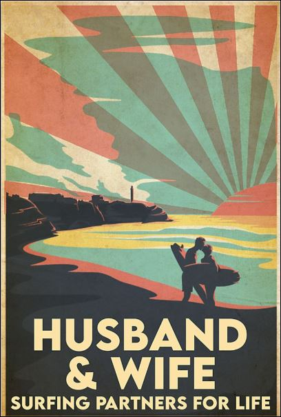 Husband and wife surfing partners for life poster