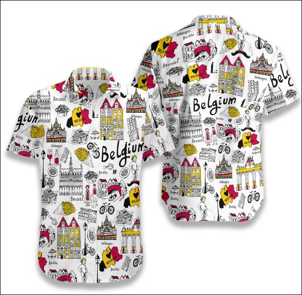 I Love Belgium Doodle hawaiian shirt