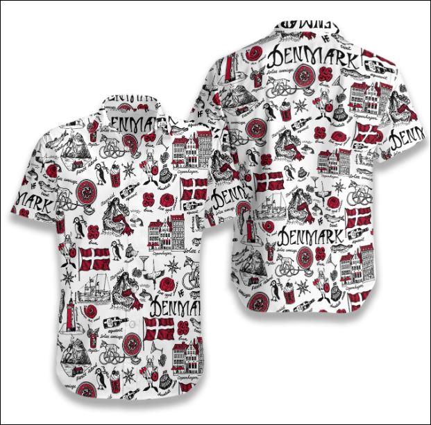 I Love Denmark Doodle hawaiian shirt