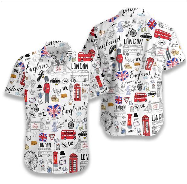 I Love England Doodle hawaiian shirt
