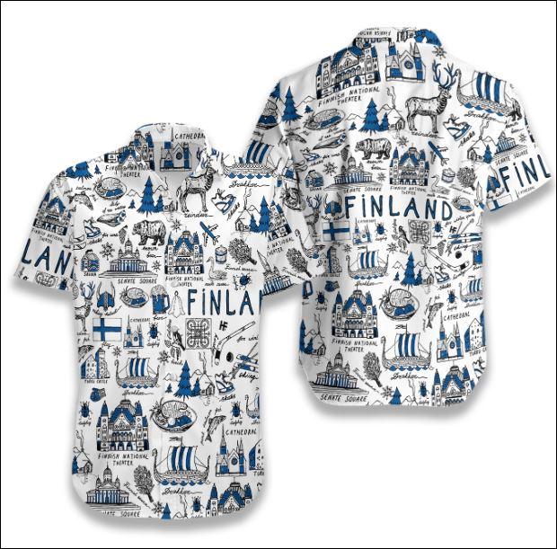 I Love Finland Doodle hawaiian shirt