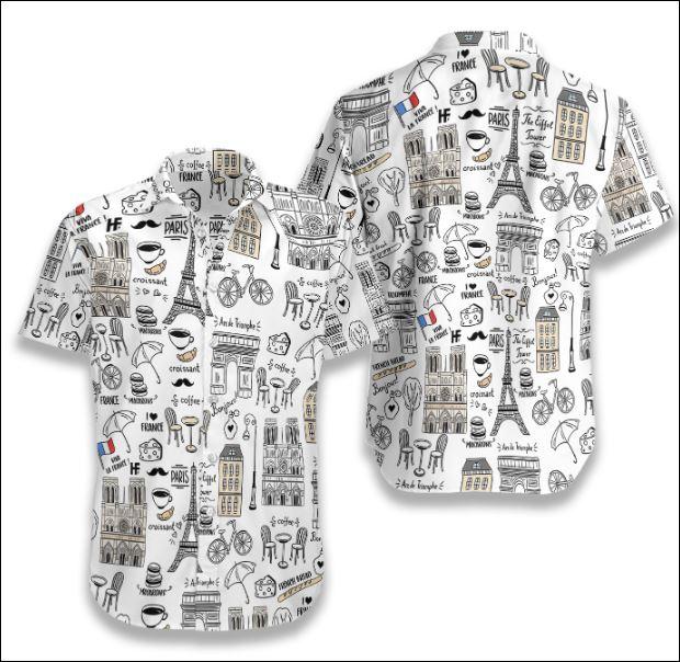I Love France Doodle hawaiian shirt