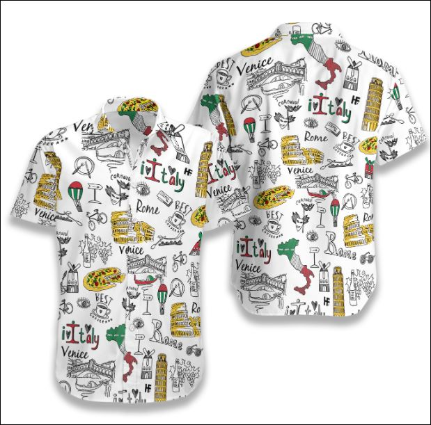 I Love Italy Doodle hawaiian shirt