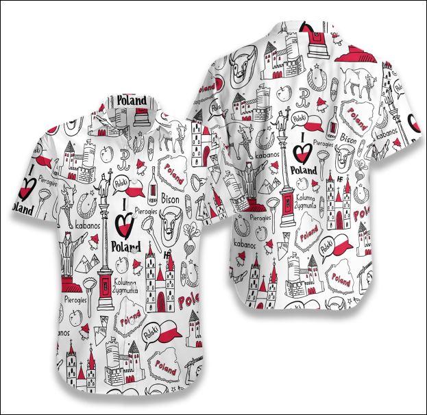 I Love Poland Doodle hawaiian shirt