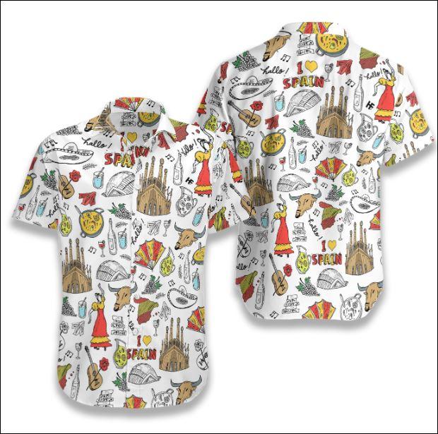 I Love Spain Doodle hawaiian shirt
