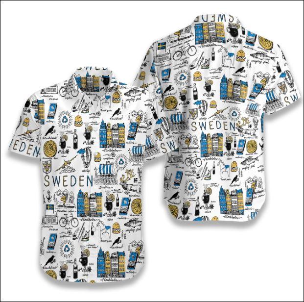 I Love Sweden Doodle hawaiian shirt