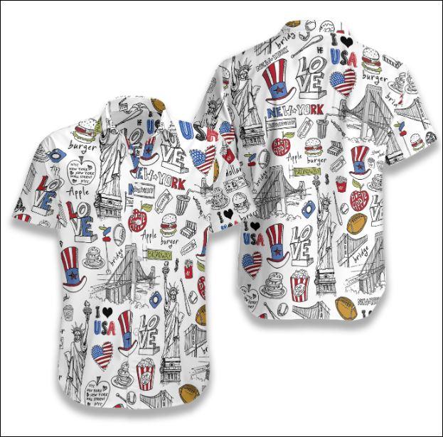 I Love USA Doodle hawaiian shirt
