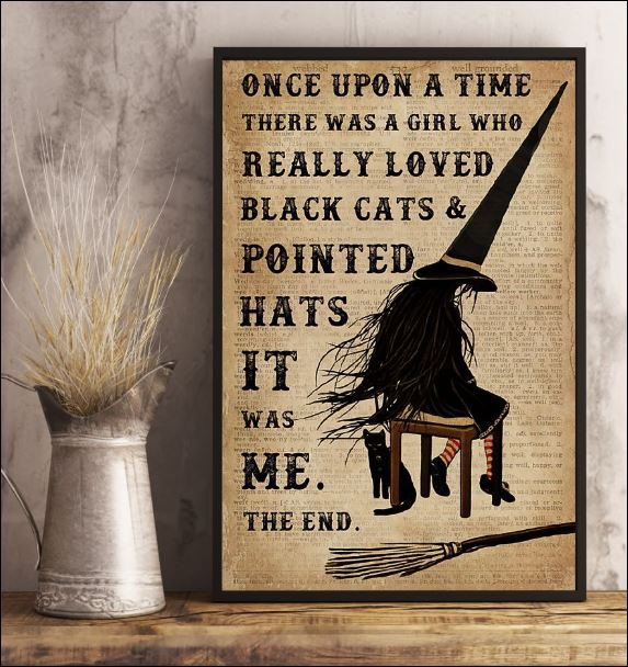 Once upon a time there was a girl who really loved black cats and pointed hats it was me poster 1