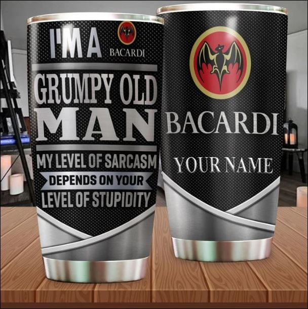 Personalized Bacardi i'm a grumpy old man my level of sarcasm depends on your level of stupidity tumbler
